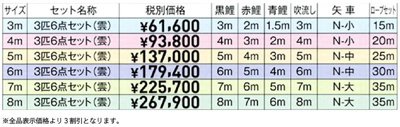 錦綾 価格表